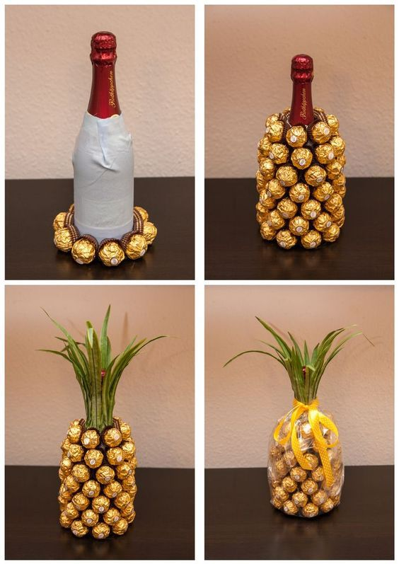 pineapple diy wine bottle covered in rocher chocolates