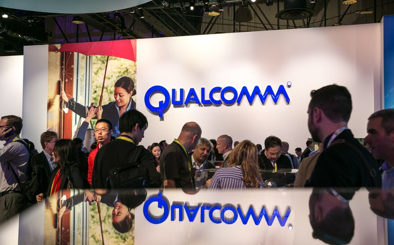 Qualcomm logo at the Consumer Electroncs Show in Las Vegas