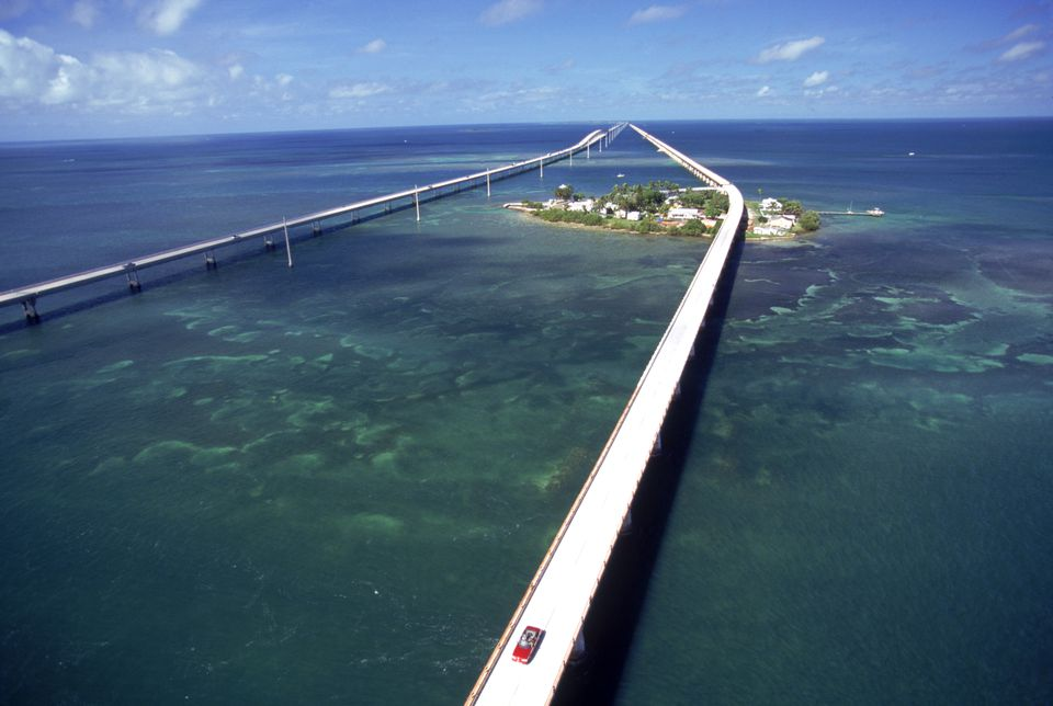 Aerial of 7 mile bridge, Pigeon Cay, FL Keys
