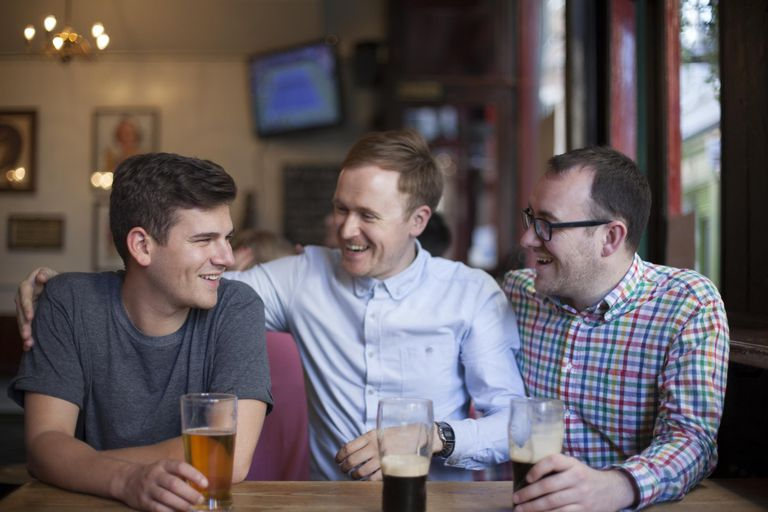 Three men in a pub