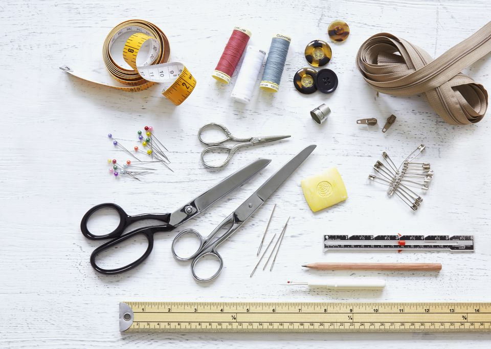 A selection of sewing kit tools