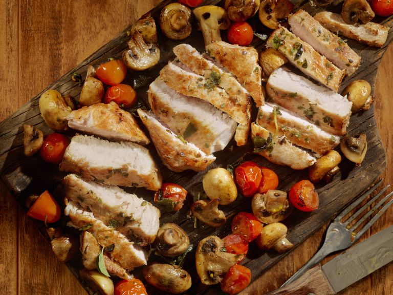 Pork Rib Chops with Tomatoes and Mushrooms