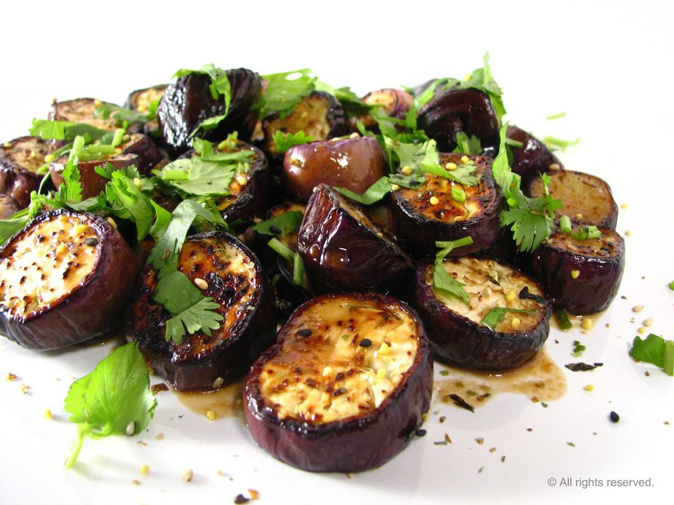 Eggplants with dressing