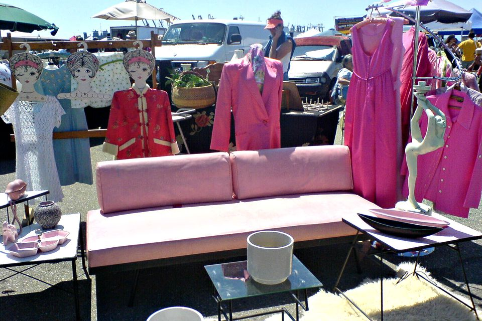 vintage furniture and cothing at Alameda Point Antiques Faire.