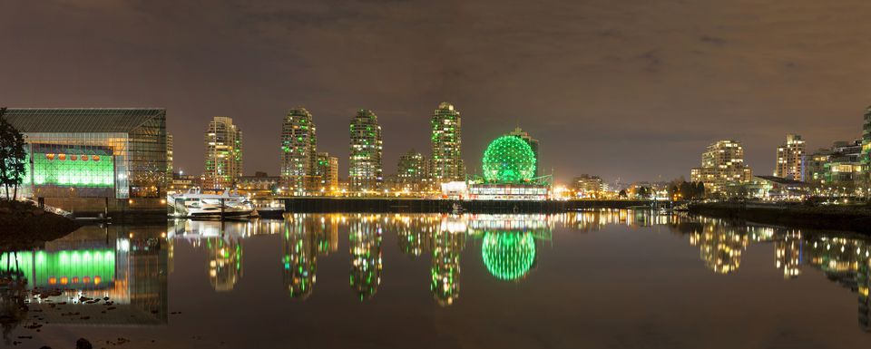 Vancouver BC Cityscape by False Creek at Night