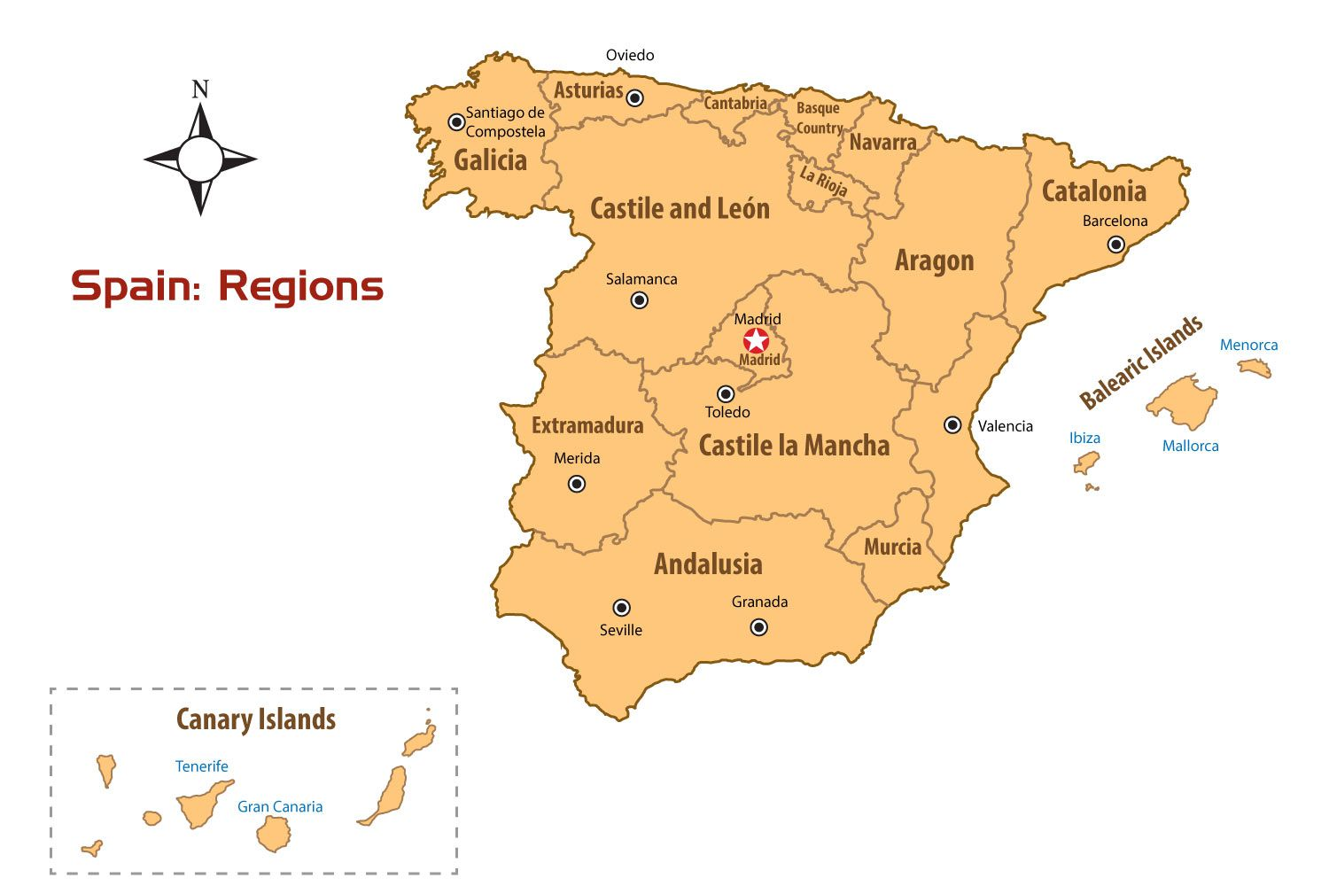 Flights From The US And UK To Spain - Major cities map of portugal