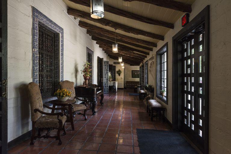 Breezeway at Quinta Mazatlan, the 1935 Spanish Revival style adobe mansion in McAllen, Texas