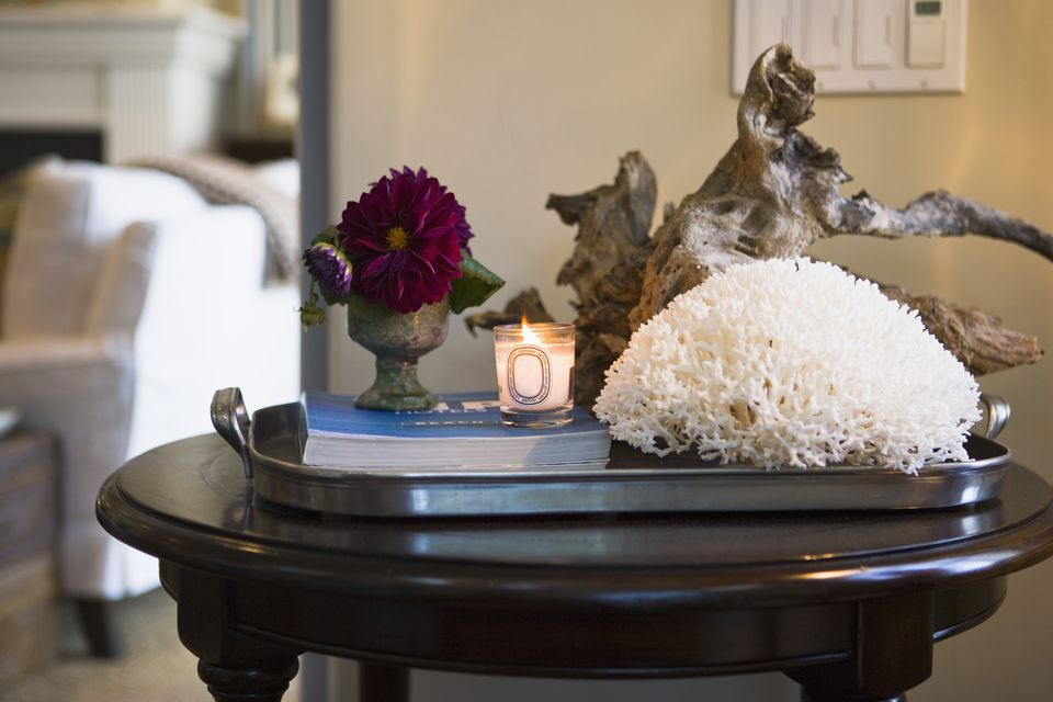 Collection of Home decoration on end table