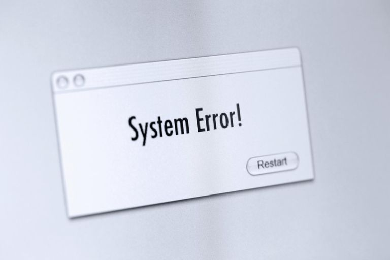 Picture of an error message on a computer screen