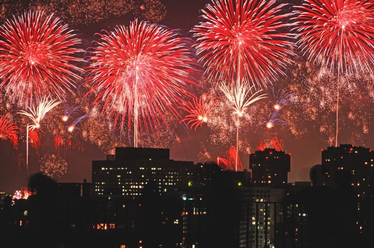 Fireworks combine fuel, oxidizer, and colorants to explode into spectacular shapes and colors.