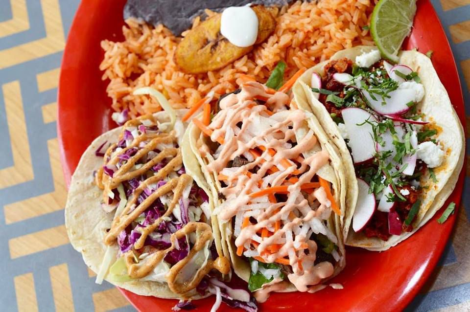Tacos with rice and beans from BelAir Cantina