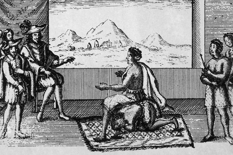 Queen Nzinga, seated on a kneeling man, receives Portuguese invaders