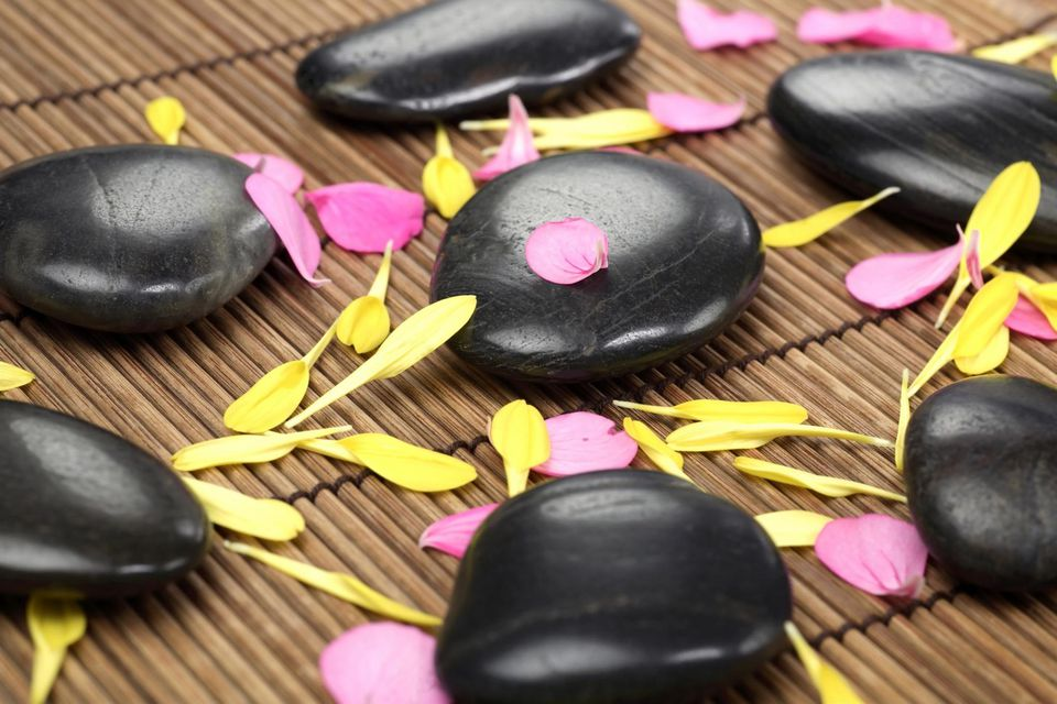 Spa pebbles used for yoga