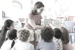A teacher with children