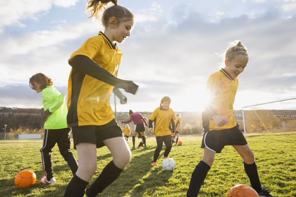 Youth soccer players during a practice
