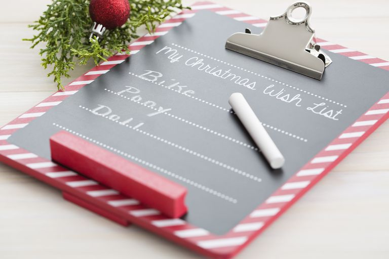 Clipboard with Christmas wish list