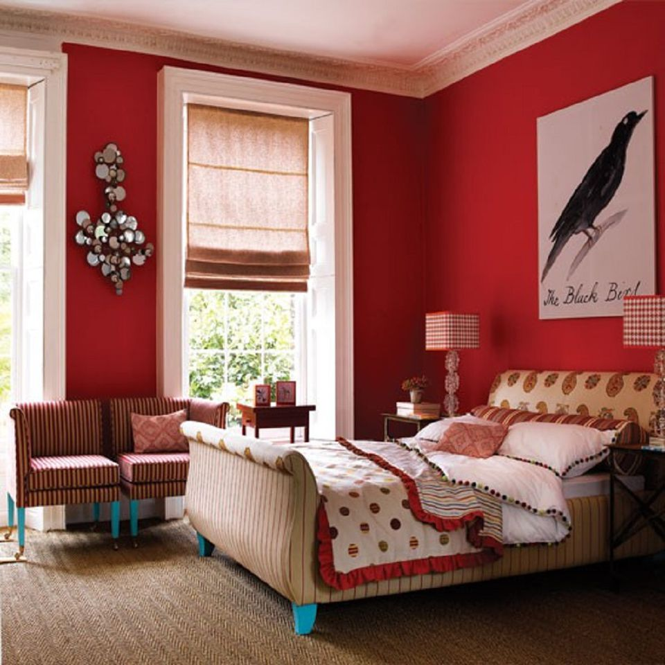 Bright red bedroom walls with blue and white accents. Colorful Bedroom Ideas and Photos