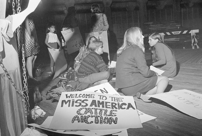 Demonstrators Picketing Miss America Pageant: sign says