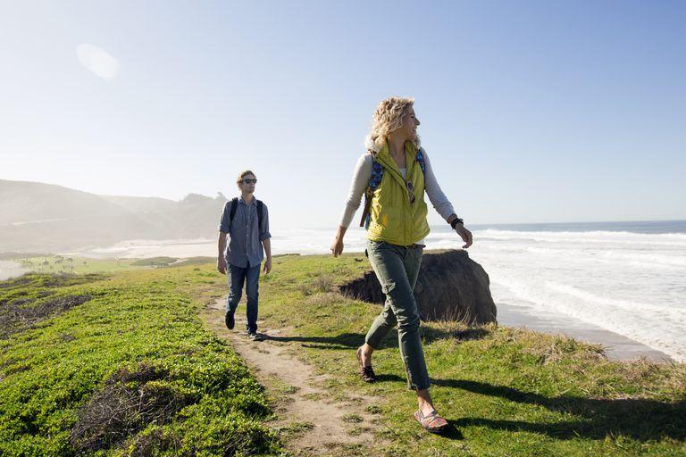 Couple walking near beach