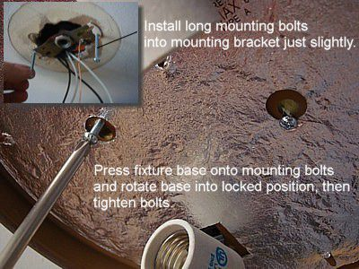 How to replace a ceiling light fixture installed mounting bolts for ceiling light fixture mozeypictures Image collections