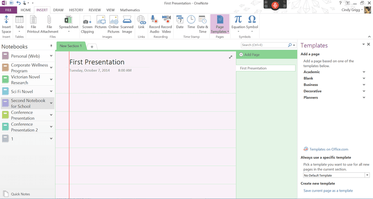 Updated page template options for microsoft onenote for Onenote task management template