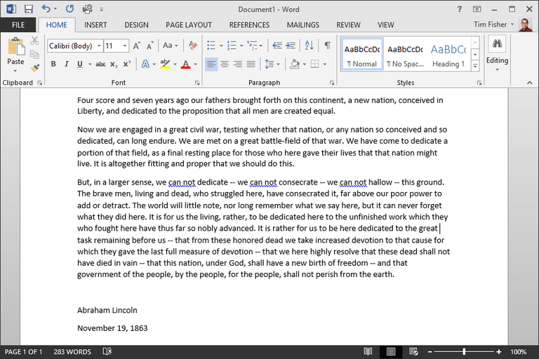 Screenshot of a document in Microsoft Word 2013