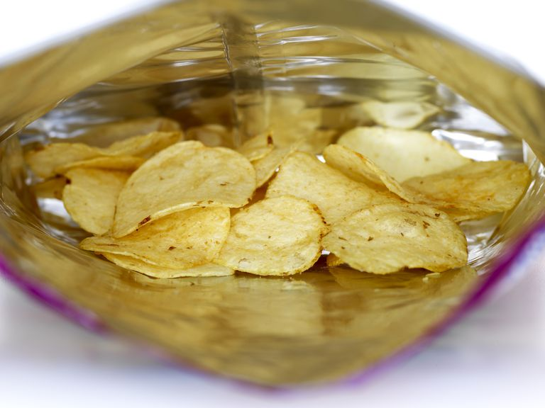 View inside and open potato chip bag
