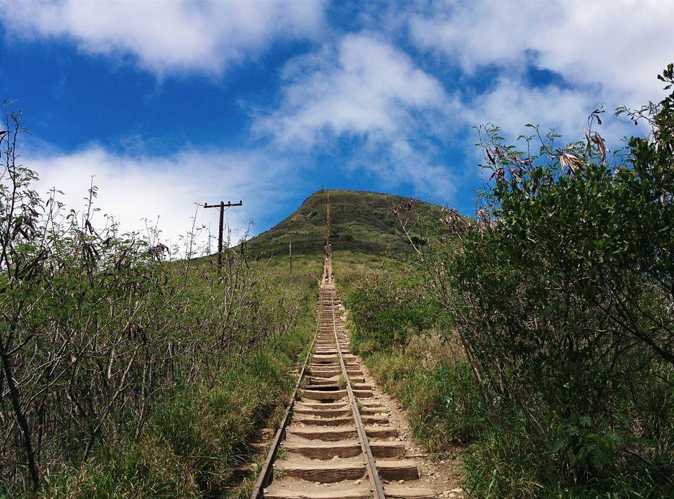 Koko Head Trail Amidst Plants Against Cloudy Sky