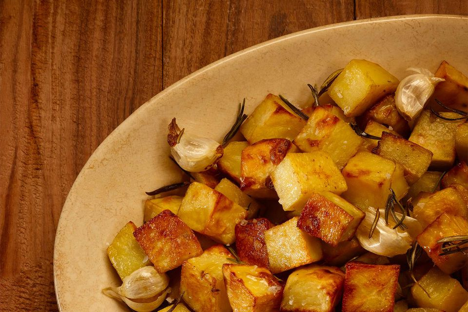 Dish with browned potatoes and onion