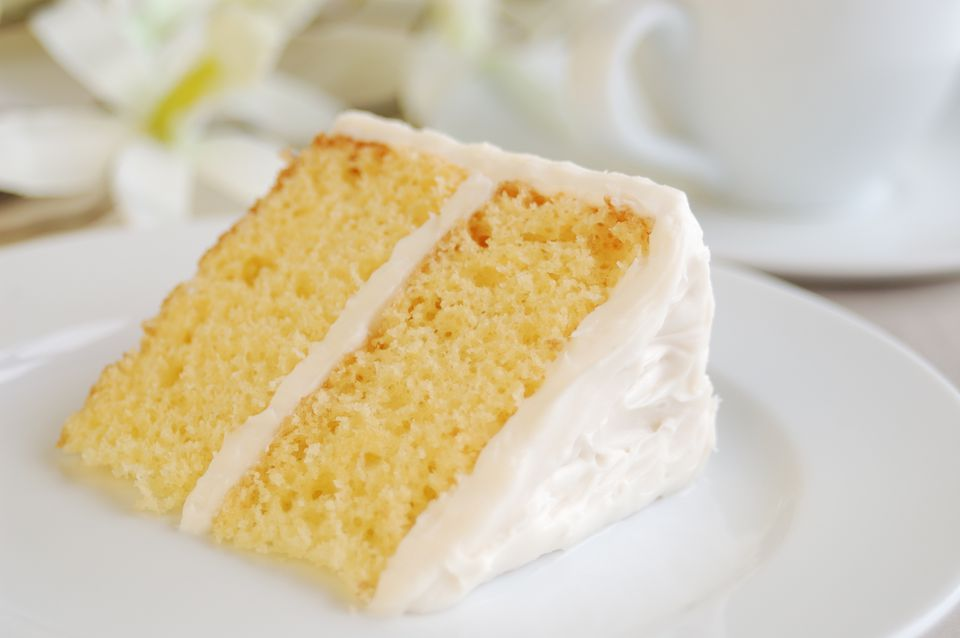 Piece of Yellow Cake with Vanilla Frosting