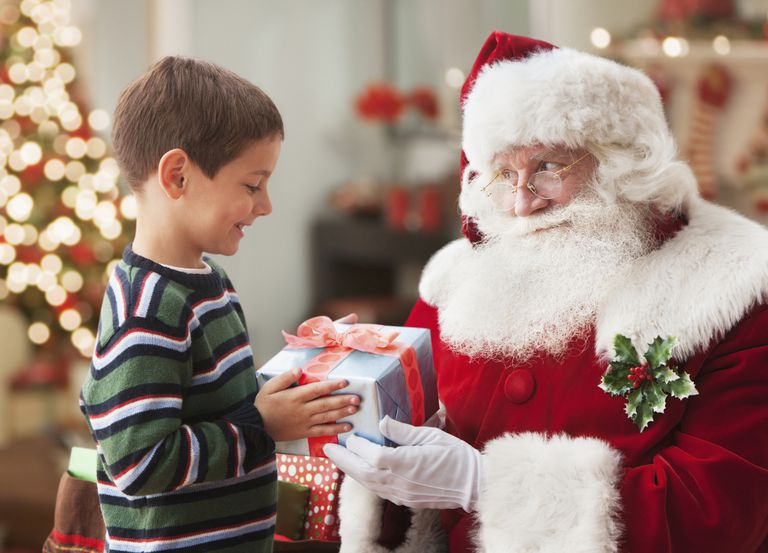 boy visiting with santa - Santa Claus Children