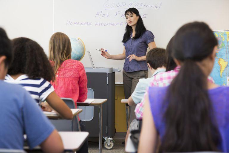 Teacher talking in class