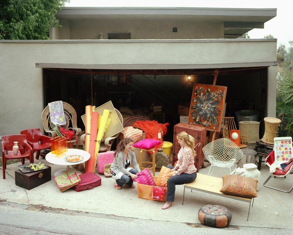 Two women having garage sale