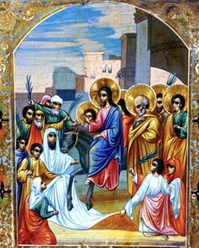 Icon of Christ's entrance into Jerusalem. (Photo © Slava Gallery, LLC; used with permission.)