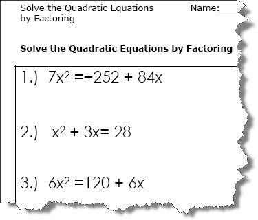 Quadratic Equation Worksheets - Printable PDF Download