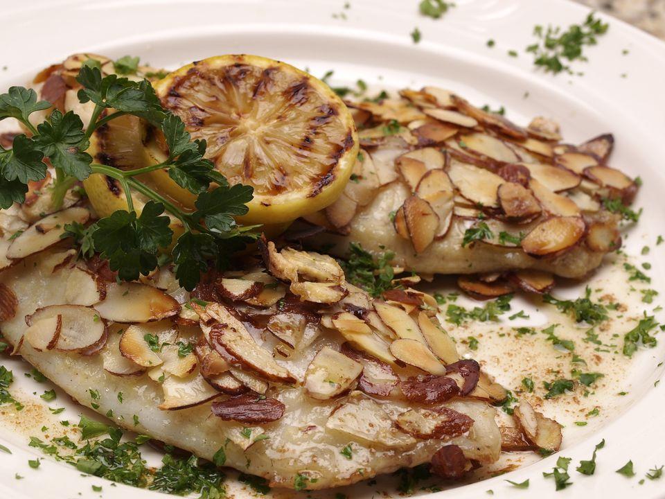 Fish prepared in the amandine style