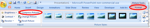 Activate the Picture Tools and use the Compress Pictures button in PowerPoint 2007