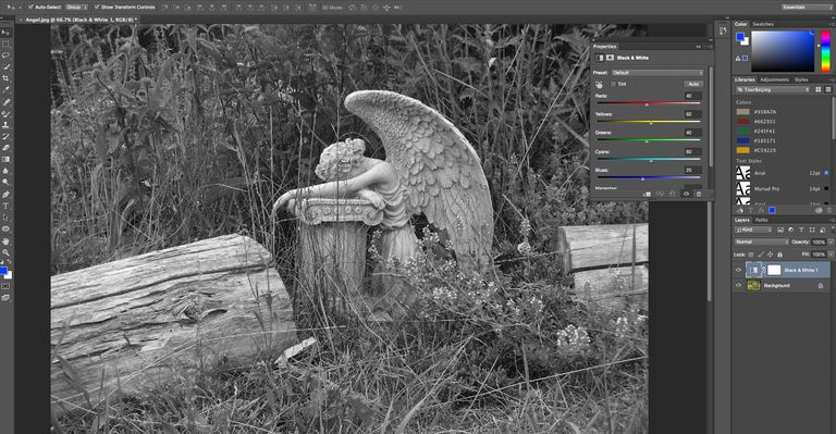 A colour image is converted to grayscale in Adobe Photoshop