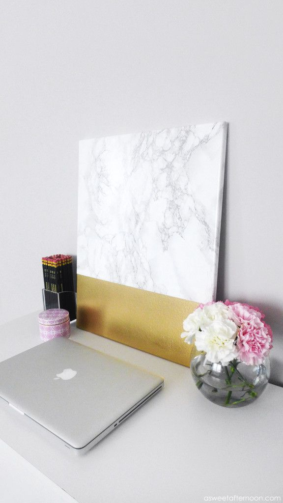 DIY Marble And Gold Art