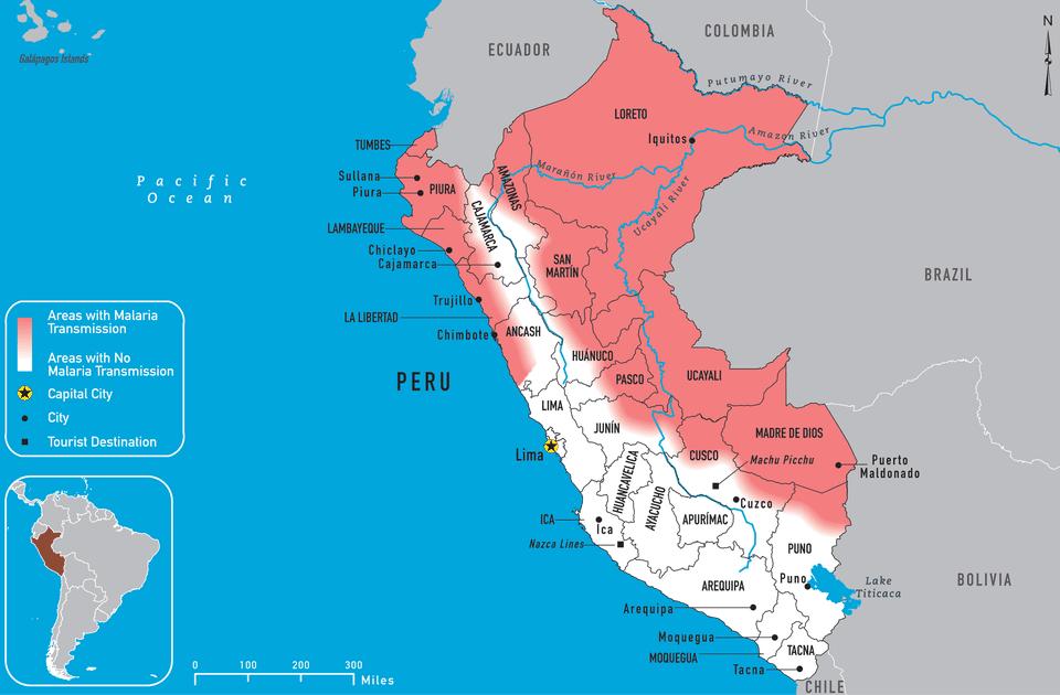 CDC malaria map of Peru