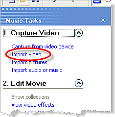 Import Video clips into Windows Movie Maker