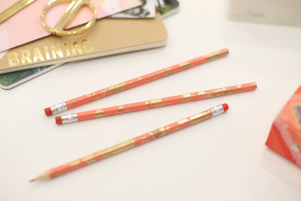 Chic gold-marbled pencils