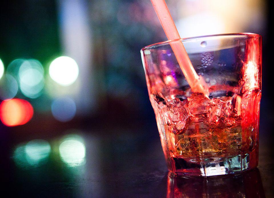 A mind eraser vodka shot on a bartop