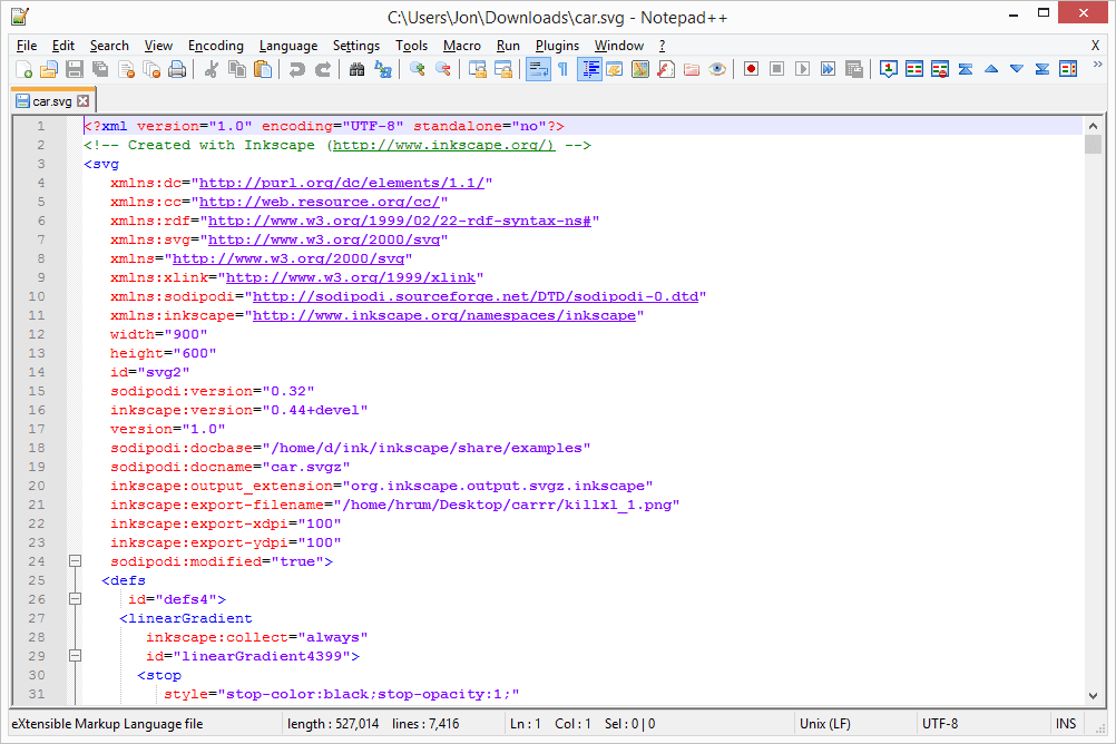 Screenshot of an SVG file open in Notepad++