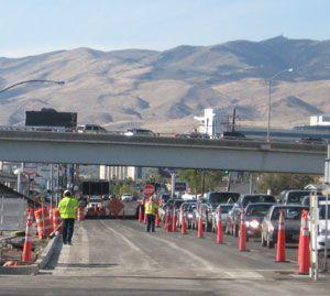 Road construction snarls traffic in Reno, Nevada, NV