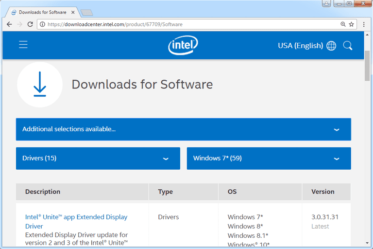 Screenshot of Microsoft's download center