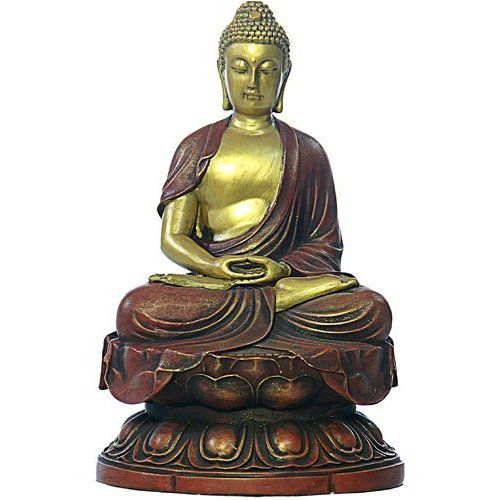 Gold and red Buddha statue