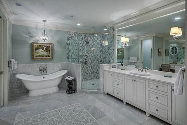 Beautiful Bathroom Design Ideas. Beach style bathroom room with white and  gray marble