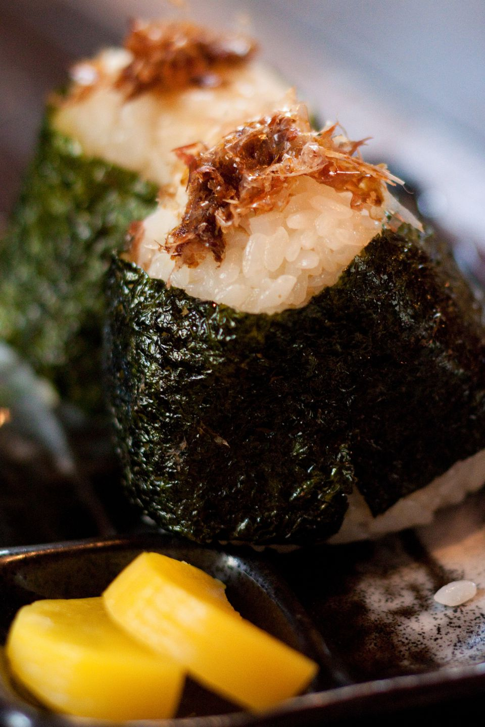 Two balls of okaka onigiri