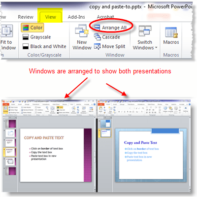 "Use the PowerPoint ""Arrange All"" command to show two presentations on screen at the same time"